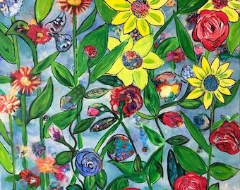 "Original Art Painting Hedy Lamarr Flower Series 20"" X 20"""