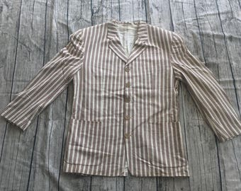 Vintage KENZO PARIS Brown Striped RAYON Made In japan blazer jacket coat homme