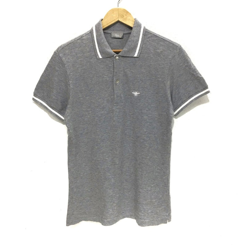 d109802c1e4 Authentic DIOR HOMME Bee Embroidery Logo Gray Casual Polo Tee