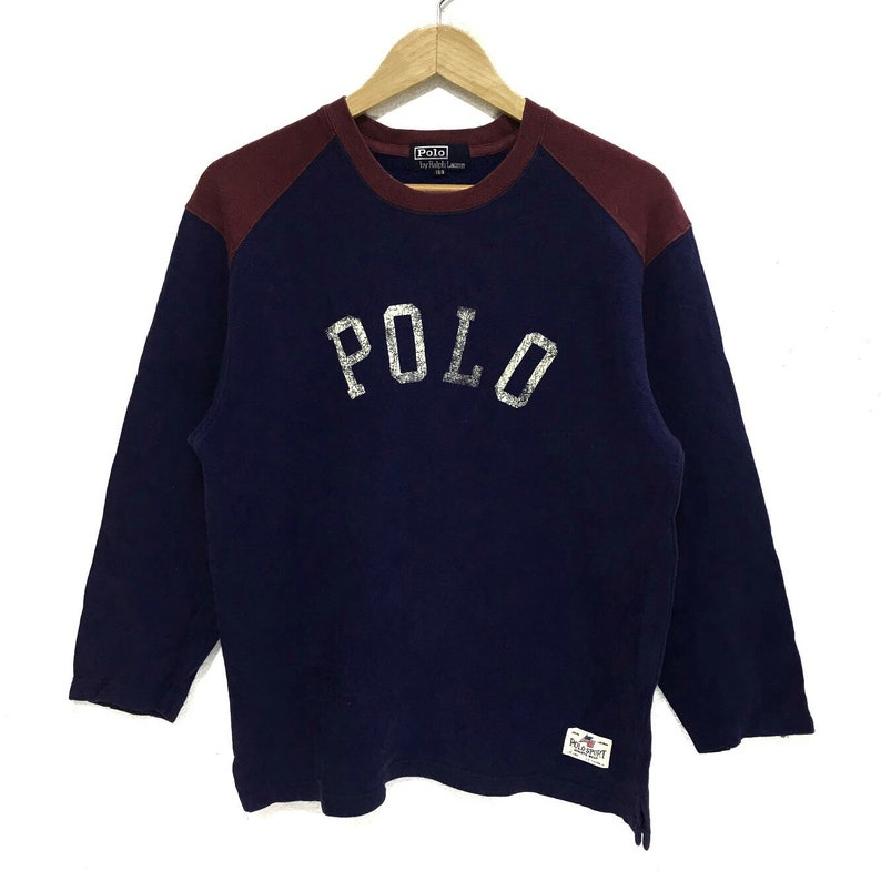 d05a697c8 Vintage Polo RALPH LAUREN Spell Out Logo Crew Sweatshirt | Etsy