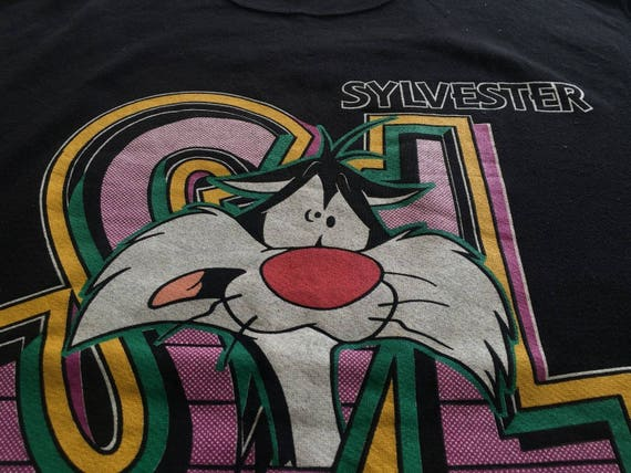 Sweatshirt CAT Vintage 1993 SYLVESTER Looney MEDIUM Bros Cartoon Warner Tunes zg76F7q