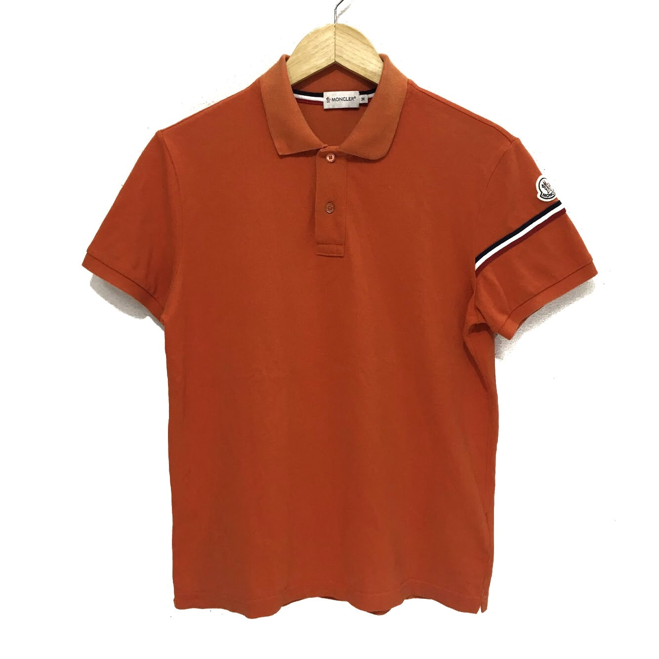 cd03c2fcc2f1 MONCLER Orange Casual Polo Tee Shirt Top Collar Rooster Logo
