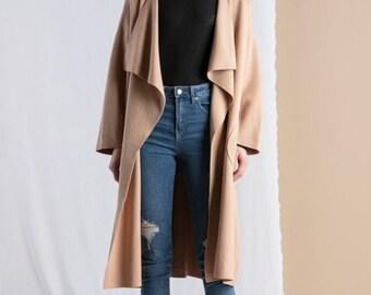 1214 UK Size 810 US Long Knit Sweater Coat European Vintage 1970s Style Cotton Cardigan Jacket