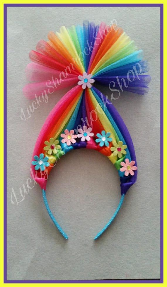 Rainbow Troll Headband Multi Colored Trolls Headband Trolls Etsy
