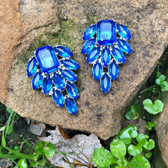 Antique 1930's Cerulean Blue Crystal ART DECO Dres