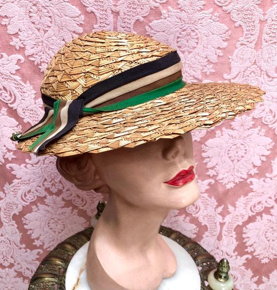 Vtg 1930s Plaited Straw Summer Hat w/Deco Ribbon - image 4