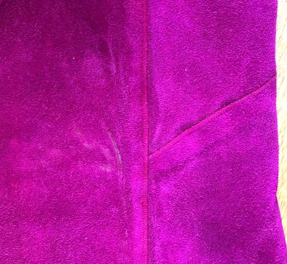 Vtg 1960's Mod PURPLE SUEDE Pant Suit w/Gold Grom… - image 9