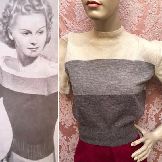 Vtg 1940's Color-Block Wool KNIT Sweater & Match M