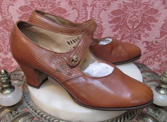 Vintage 1920's SIDE-BUTTON Kid Leather FLAPPER Mar