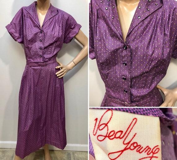 VTG 1940s Deadstock BEAL YOUNG Purple Shirtwaist D