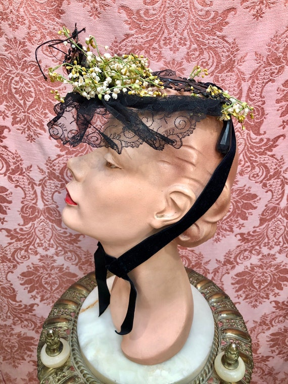 Antique Victorian 1880s JET Glass & LILY of the V… - image 4