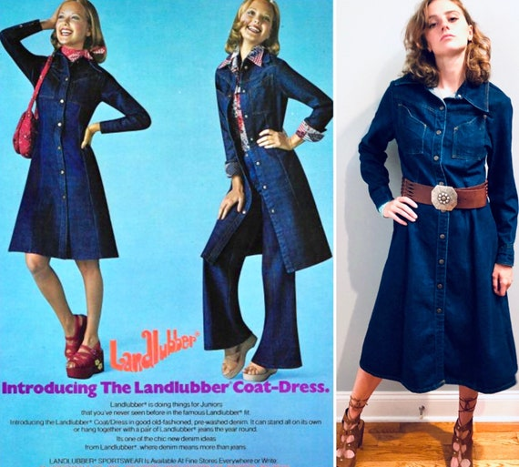 VTG 1970's Landlubber Denim Snap-front COAT DRESS