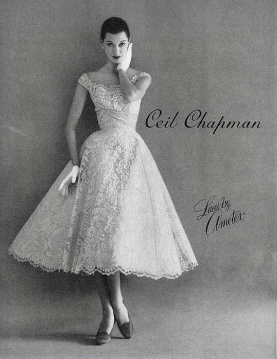 Vintage Deadstock 1950's CEIL CHAPMAN Lace Overla… - image 9