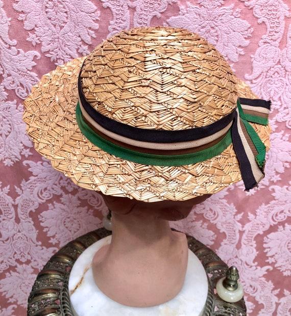 Vtg 1930s Plaited Straw Summer Hat w/Deco Ribbon - image 6
