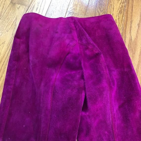 Vtg 1960's Mod PURPLE SUEDE Pant Suit w/Gold Grom… - image 7