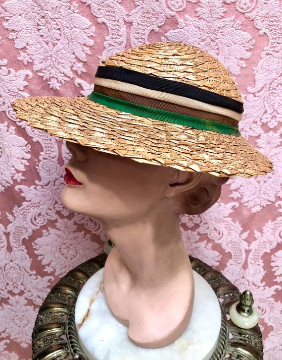 Vtg 1930s Plaited Straw Summer Hat w/Deco Ribbon - image 3