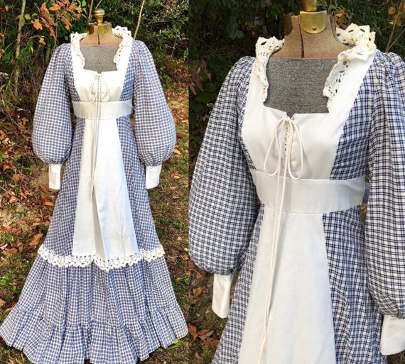 VTG 1970's GUNNE SAX Gingham Lace-up Bodice Maxi-D