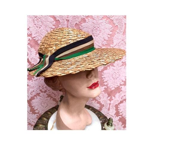 Vtg 1930s Plaited Straw Summer Hat w/Deco Ribbon - image 1