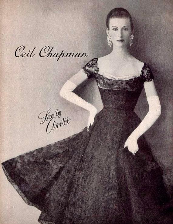 Vintage Deadstock 1950's CEIL CHAPMAN Lace Overla… - image 8