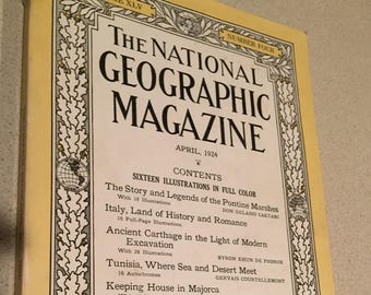Hey Collectors: National Geographic April 1924 Pontine Marshes; Italy; Carthage;Majorca;Tunisia-Good condition