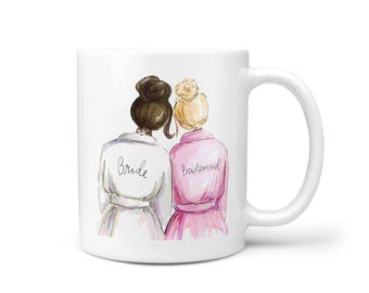 Wedding/Bridal Shower Gifts - Ceramic Coffee Mug - Bride and Bridesmaid - Best Cute Engagement Gift for Maid of Honor, Best Friend or Sister