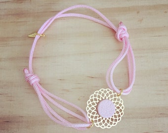 Polyester charm gold charm and leather cord bracelet / choose colors