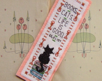 Books - Cats - Life is Good Cross Stitch Pattern - Instant Download PDF - Cat Quote Bookmark