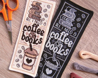All I Need Is Coffee & Books Cross Stitch Pattern - Instant Download PDF - Coffee Lover Bookmark