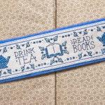 Drink Tea, Read Books Cross Stitch Pattern - Instant Download PDF - Vintage Inspired Bookmark
