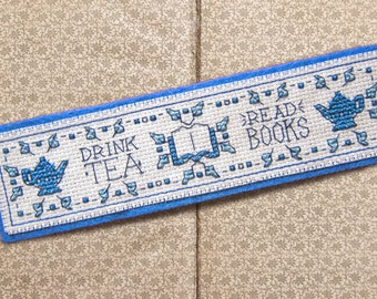 Drink Tea, Read Books Cross Stitch Pattern - Instant Download PDF - Vintage Inspired Bookmark