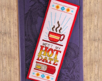Meet My Hot Date Cross Stitch Pattern - Instant Download PDF - Retro Bookmark