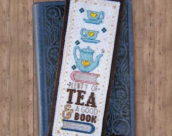 Plenty of Tea & a Good Book Cross Stitch Pattern - Instant Download PDF - Vintage Inspired Bookmark