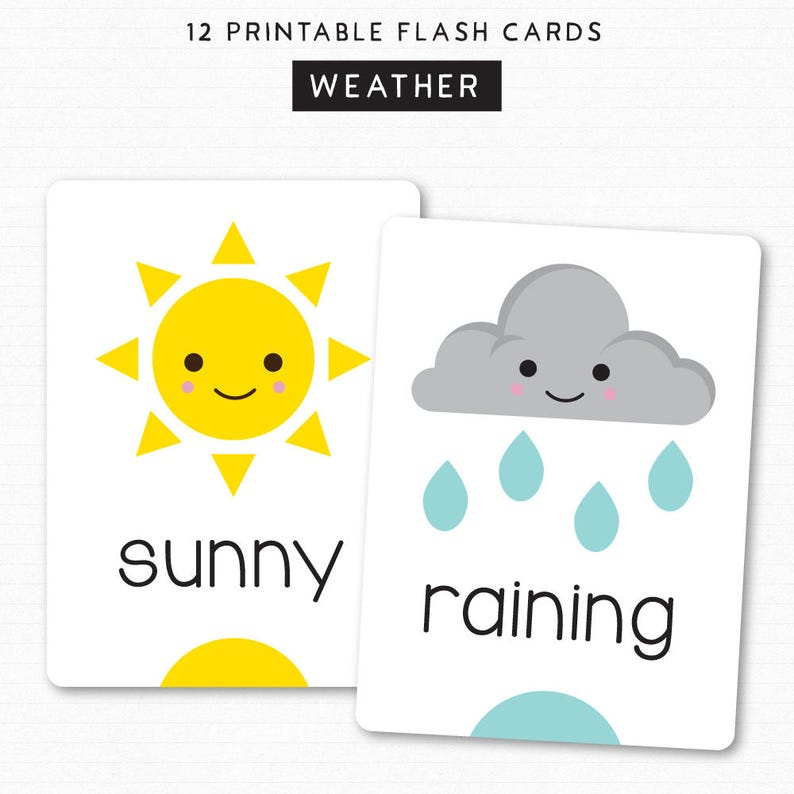 Kids Flash Cards  Learn Weather  Printable Cards  12 Cute image 0