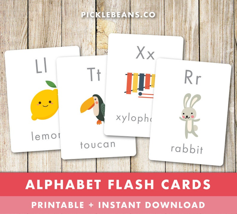 Alphabet Flash Cards  Preschool Learning Toddler Kids image 0