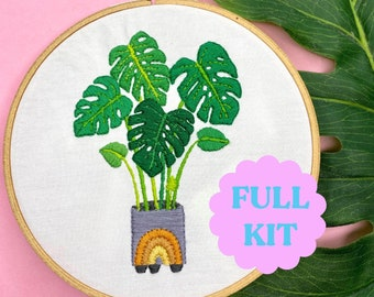 Monstera House Plant Embroidery KIT - Embroidery Full Embroidery Kit - Fun Gift Great for Beginners - Modern Hand Embroidery Full Kit