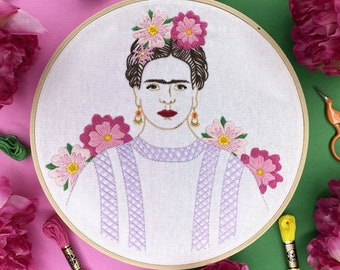 Frida Kahlo Embroidery KIT - Embroidery Full Embroidery Kit - Fun Gift Great for Beginners - Modern Hand Embroidery Full Kit