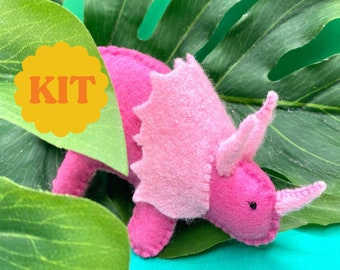 Plush Toy Triceratops Dinosaur DIY Kit - Craft Project - Fun Activity - Hand Stitch - Sewing Kits for Kids & Adults