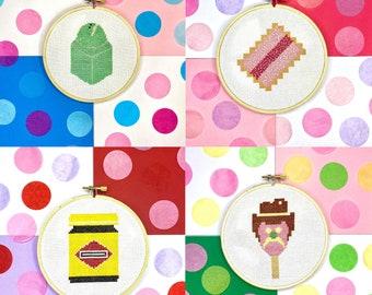 Cross Stitch PDF Digital Download Pattern - Crossstitch X Stitch Needlepoint Australian Food Icons - Embroidery Hoop Junk Food Funny Design