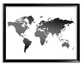 Black world map etsy world map printable world map map print black and white map wall decor map poster large silhouette world map poster instant download gumiabroncs Gallery