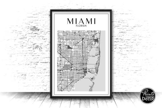 Miami Florida Map Art Poster Miami City Large Wall Art Etsy