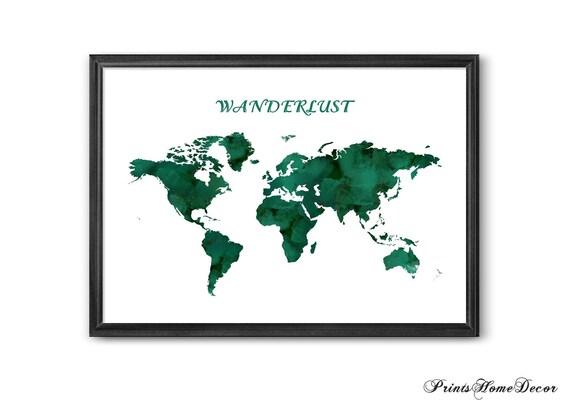 A1 World Map Names Colour Art Poster A4 sizes A2 A3 A0