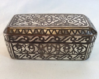 248dd22d902 Small Antique Bronze Betel Nut Box with Pure Silver Inlays - Mindanao