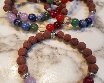 Chakra Essential Oil Diffuser Bracelet - Brown Lava Rock