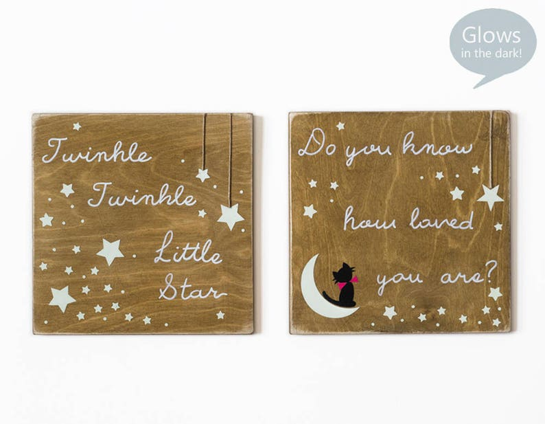 Twinkle Twinkle Little Star wood sign Glowing in the dark image 0