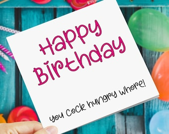 X rated card etsy funny rude offensive birthday cards happy birthday you cock hungry whore novelty comedy banter adult humour joke greetings card m4hsunfo