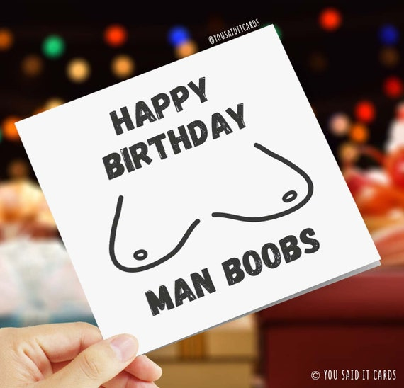 Happy Birthday Man Boobs Greetings Card C Word Cunt Etsy