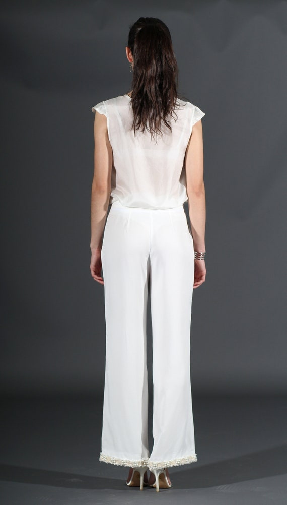 flared summer White elegant trousers Sizes trousers to 44 trousers trousers spring chic tencel 34 trousers lyocell designer UqxIrwnpzq