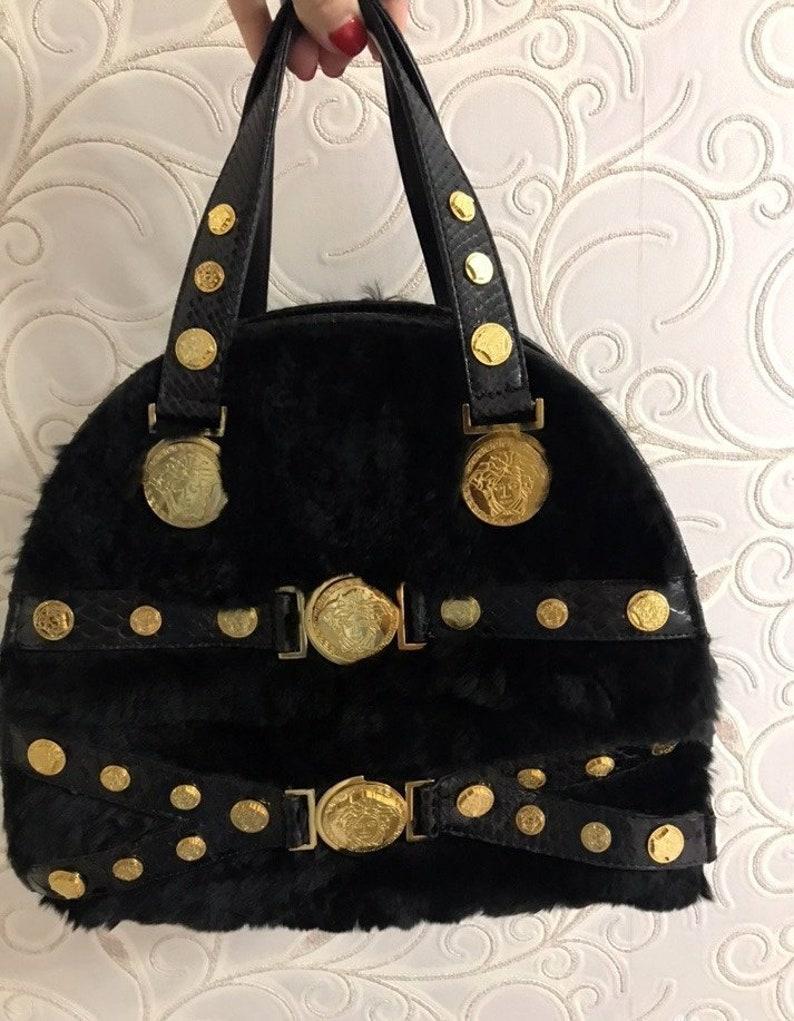 186b4689d87d Versace Tribute Handbag   fur   Medusa Tote   vintage