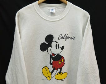 Vintage MICKEY MOUSE California//Sweatshirt Velva Sheen Tag//Size L  Adult//Made In USA