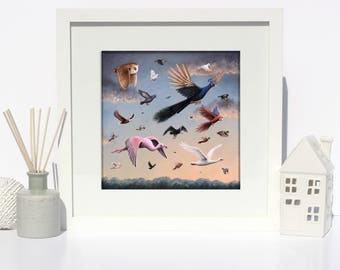 Birds- Giclee Fine Art Print - Nursery/Kids room/home decor